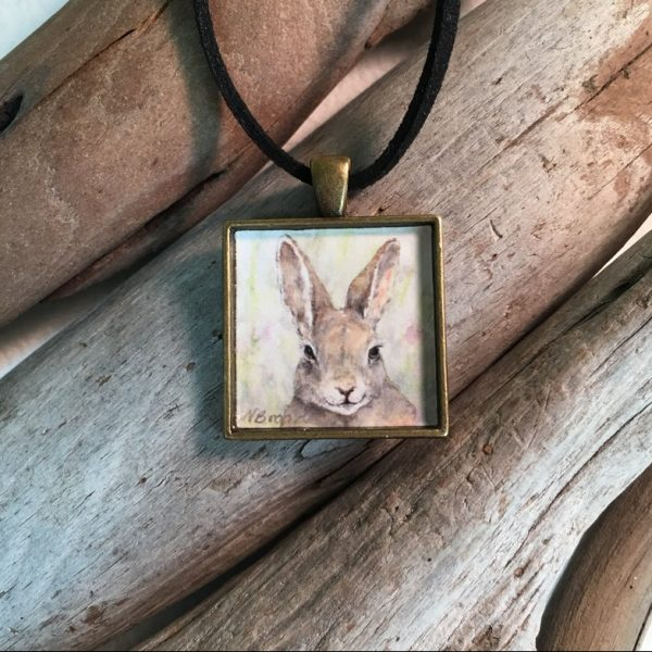 Bunny Rabbit Watercolor Print Pendant