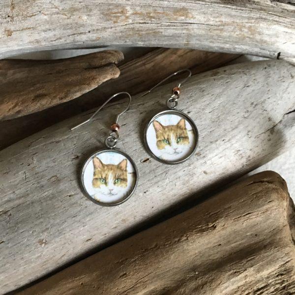 Tabby Cat Art Print Earrings
