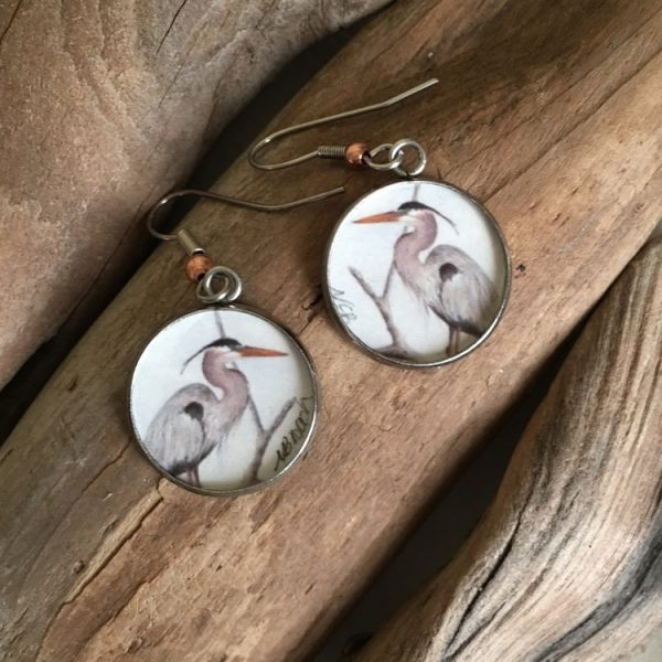 Great Blue Heron Art Print Earrings