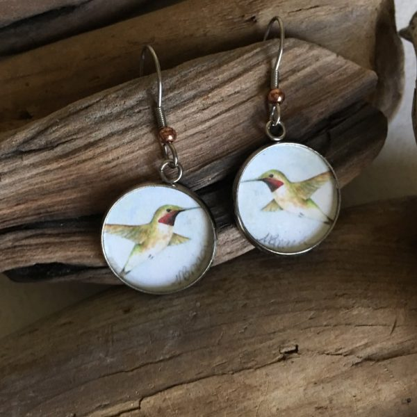 Hummingbird Art Print Earrings
