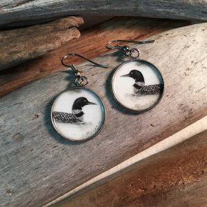 Loon Art Print Earrings