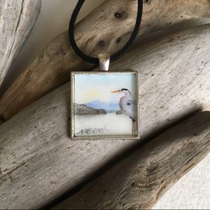 Heron At the Harbor Art Print Pendant