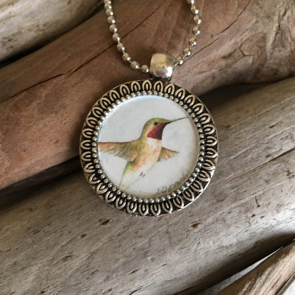 Hummingbird watercolor print pendant