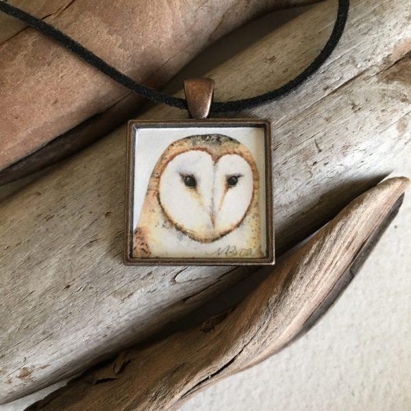 Barn Owl Watercolor Print Pendant