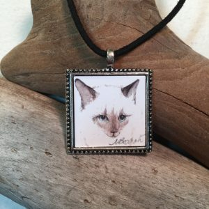 Siamese Cat Watercolor Print Pendant