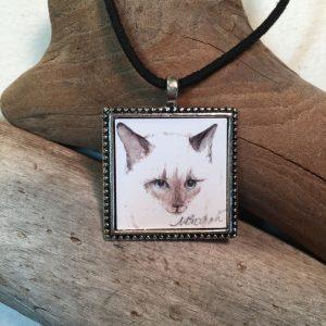 Siamese Cat Watercolor Print Pendant