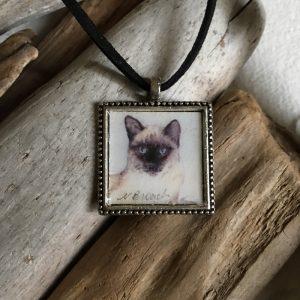 Siamese Cat Art Print Pendant