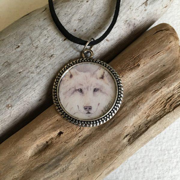 White Wolf Art Print Pendant