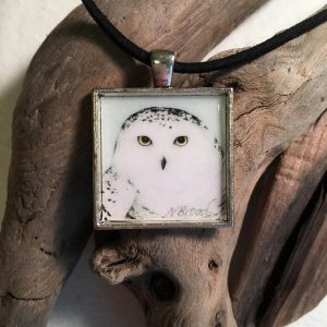 Snowy Owl Art Print Pendant