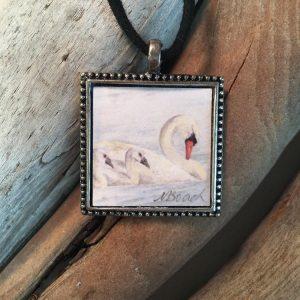 Swan Art Print Pendant
