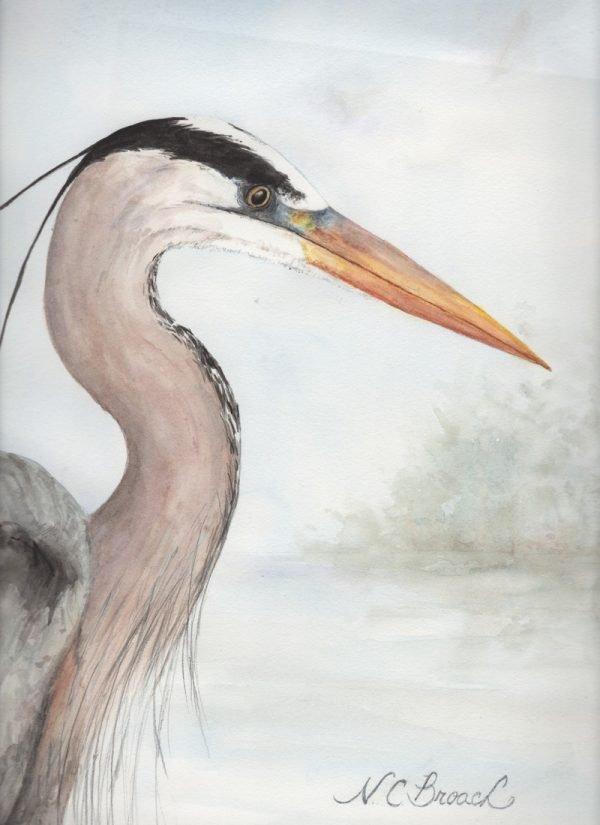 Heron in the Mist Giclée Art Print