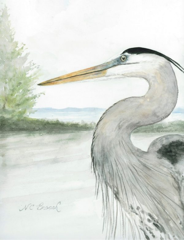 Heron by the Water Giclée Art Print