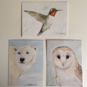polarbear, hummer and owl postcard bundle